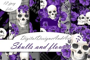 Skull and flowers patterns