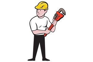 Plumber Holding Monkey Wrench Cartoo