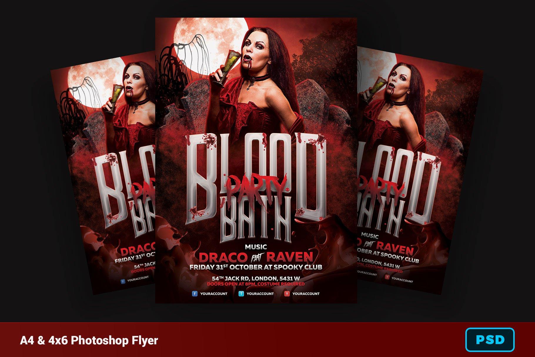 Blood Bath Halloween Flyer Flyer Templates Creative Market