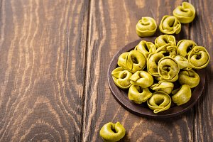 Homemade Tortellini with spinach