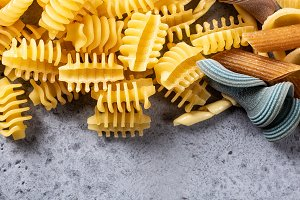 Assorted colorful italian pasta