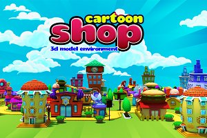 3D Cartoon Shop City