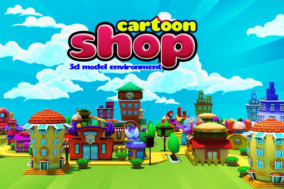 3D Cartoon Shop City