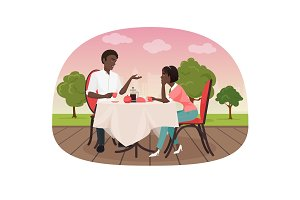 Black couple sitting in the cafe.
