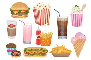 Fast food icons menu set.