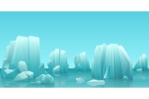 Arctic ice landscape with icebergs