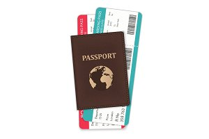 Passport with boarding passes.