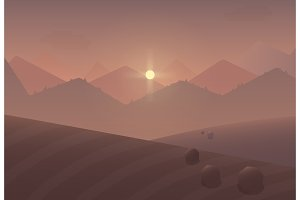 Cartoon sunrise mountain Landscape.