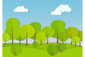 Forest cardboard paper landscape