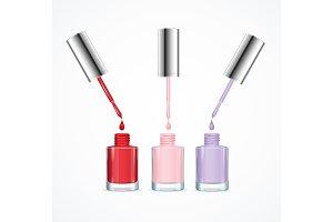 3d Color Nail Polish Set. Vector