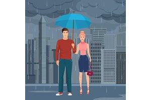 Couple pair standing under umbrella