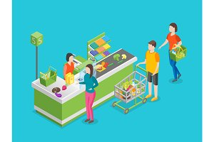 Pay in Store 3d Isometric View.