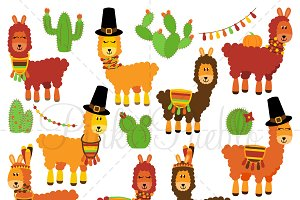 Thanksgiving Llama Clipart & Vectors