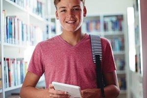 Portrait of happy schoolboy