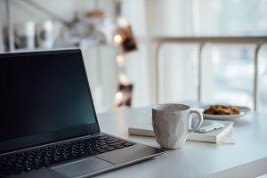 Modern white office, designer handma