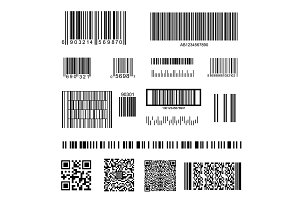 Barcode and QR Code Set. Vector