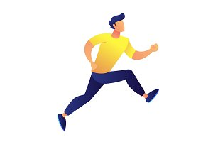 Businessman running vector