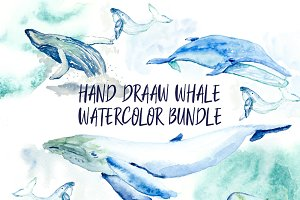 Hand-drawn watercolor whale bundle