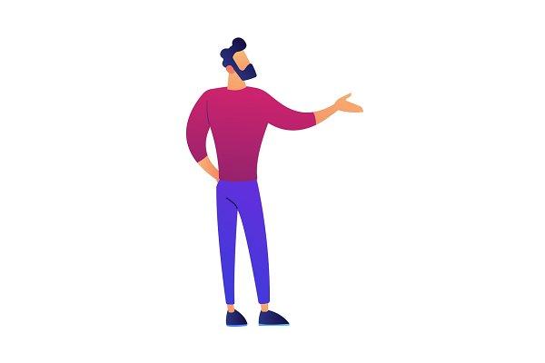Businessman doing presenting gestur…