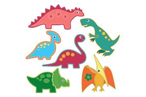 Cute dinosaurs stickers set.