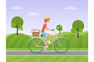 Woman with flowers riding a bike