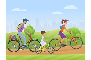 Family with girl kid riding bikes