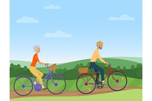 A senior couple riding the bikes
