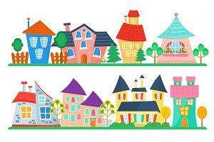 Cute cartoon houses collection.