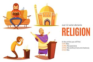 Religion Cartoon Set