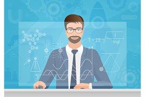 Physicist using virtual interface