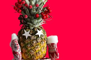 Christmas pineapple in santa boots