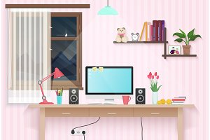 Female teenager room with workplace