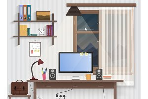 Male teenager room with workplace