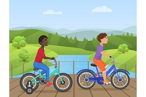 African American kids riding bikes