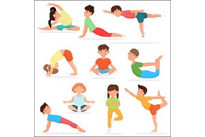 Cute yoga kids set.
