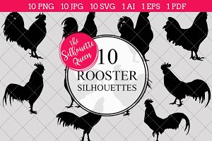 Rooster silhouette vector graphics
