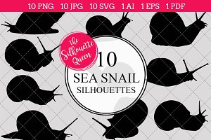 Sea snail silhouette vector graphics