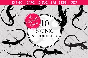 Skink silhouette vector graphics