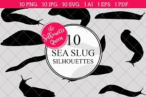 Sea slug silhouette vector graphics