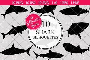 Shark silhouette vector graphics
