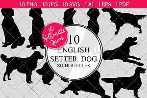 English Setter Dog silhouette vector