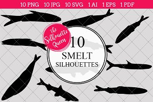 Smelt silhouette vector graphics
