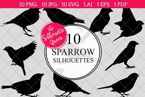 Sparrow silhouette vector graphics
