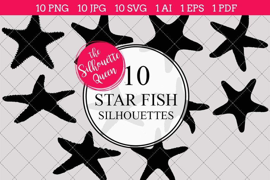 Star Fish Silhouette Vector Graphics Graphic Objects Creative Market