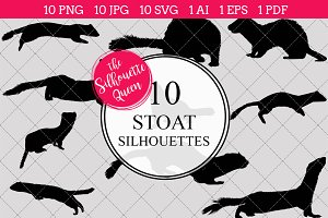 Stoat silhouette vector graphics
