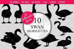 Swan silhouette vector graphics