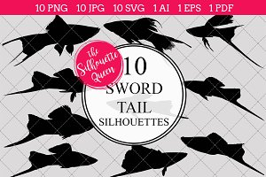 Sword tail silhouette vector graphic