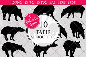 Tapir silhouette vector graphics