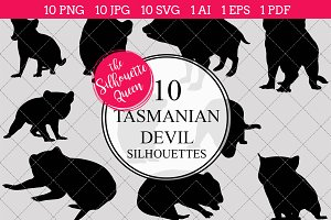 Tasmanian devil silhouette vector