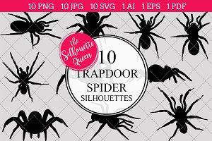 Trapdoor spider silhouette vector